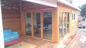 House remodel showing the back deck and Nanawall bi-fold doors
